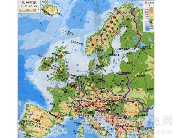 中国和西欧地图